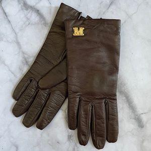 MaxMara Spalato Brown Leather Gloves 7.5